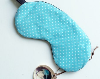 SALE-blue with white spots Pinup Cotton Bamboo Sleepmask Eyemask  - Love Me Sugar HH