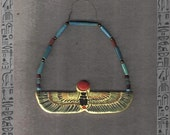 Egyptian Winged Scarab hand painted matte colored wall hanging amulet - altar piece - 9 x 3 cm
