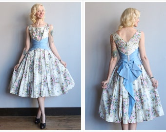 1950s Dress // Betty Draper Floral Dress // vintage 50s party dress