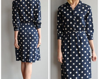 1950s Dress // Polka Dot Sheath Dress // vintage 50s dress