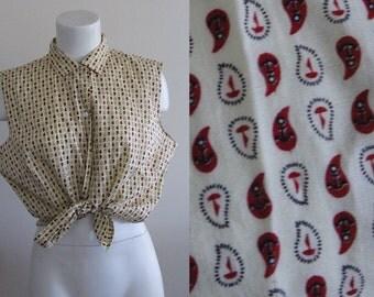 Vintage Sleeveless Blouse / Anchor Print Sleeveless Blouse / Nautical Vintage Blouse / Large Sleeveless Blouse / Size Large