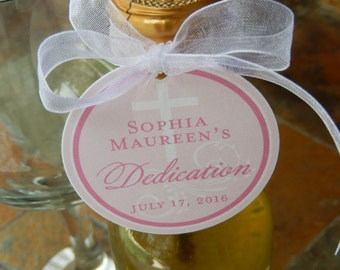 """40 Baby Dedication Custom 2"""" Favor Tags - Mini Wine Bottle Tags - Lollipops - Cookies - Party Favors - Baptism - Christening - Thank You Tag"""