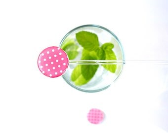 Polka dot drink stirrers hot pink white set of 6 cocktails party birthday summer party swizzle sticks serving