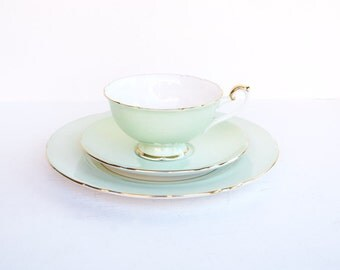 Shelley trio tea cup, saucer and dessert plate set of 3 mint fruits bone china