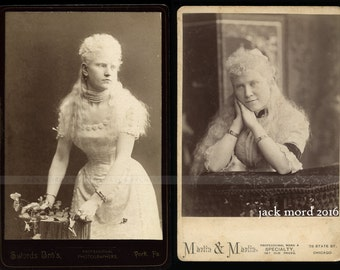 Two Antique Cabinet Cards ~ Albino Snake Charmer & Psychic Mind Reader ~ 1890s Sideshow