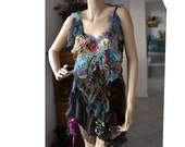 """RESERVED For M. Beautiful Feminine """"Leopard"""" Velvet Tunic Wild Sexy Girl From Forest With ROSES  Gipsy Taupe Cherry Turquoise Old Doilies"""