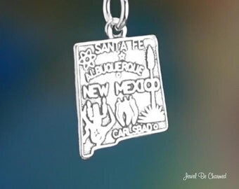 New Mexico Charm Sterling Silver United States of America Solid .925