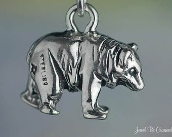 Sterling Silver Grizzly Black or Brown Bear Charm Bears 3D Solid .925