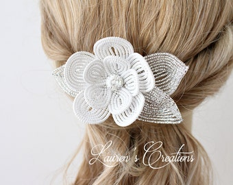 French Beaded Flower Hair Comb in white, wedding hair piece, decorative bridal hair pin, crystal flower accessory, brides hair comb