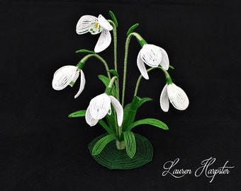 Snowdrop Sculpture, French Beaded Flower, Spring Flower Home Decor, Floral Arrangement, Flower Figurine, shelf decor, Bead Art, Wire Art