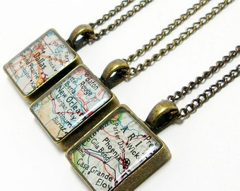 Personalized Vintage Map Square Necklace. You City, State, or Country Worldwide. One Necklace Travel Gifts Birthday Gifts For Her. Christmas