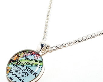 New York Map Necklace. New York Necklace. Made With A 1964 Vintage Map. Ready To Ship. New York City Map Pendant Jewelry. Wanderlust Gifts.