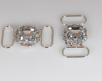 Headband Connector - Clear Stones - Set of 2