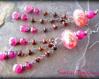NEW Rose Pink Peach Artisan Lampwork Earrings, Gemstone and Glass Dangle Earrings, Sterling Wire Wrapped Briolette Earrings, Tigers Eye