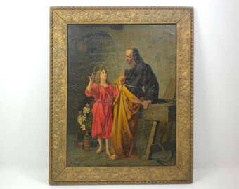Antique fine art lithograph print, Jesus pointing up to Father, holding hands with Joseph, carpentry workbench tools vase white flowers, red