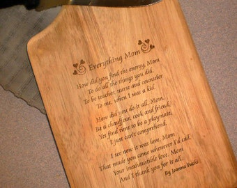 Mother's Cutting Board - Paddle Style - 2  styles