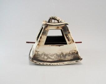 Ceramic Bird Feeder-Textured Clay-Garden Decor-Bird Feeder-Metallic Bronze Glaze