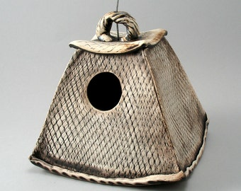 Bird House, Ceramic Birdhouse, Stoneware Bird House