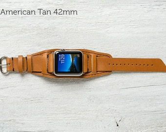 The Lowry Leather Cuff for Apple Watch Series 1 & 2 - American Tan with Steel Hardware 42mm