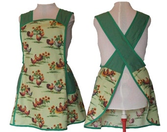 Plus Size, Women's Cross Back Apron, No Ties - Chickens and Sunflowers on Green and Checks - Made to Order - XL, 2X, 3X, 4X, 5X