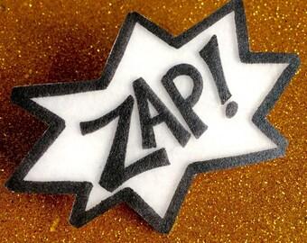ZAP comic burst brooch pin
