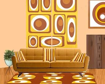 Moderner Teppich, Geometrische Teppich, Retro Braun Teppich, Mitte  Jahrhundert Moderne Teppich, Area
