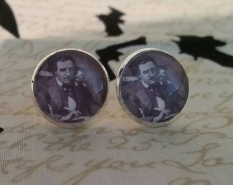 Edgar Allan Poe and cat inspired large post earrings