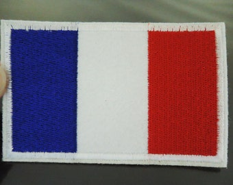 France Patches - Large Iron on Patch or Sewing on Patch France Country Flag Patch Embellishments Embroidery Applique