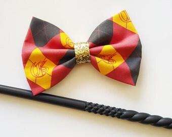 Argyle Gryffindor House Harry Potter Fabric Hair Bow for Adults, Kids, Cats, and Dogs.