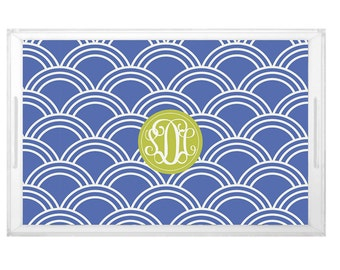 Scallop Pattern Tray - Wedding Shower Brunch Tray -  Housewarming Gift Tray - Custom Pattern Design with Monogram - Party Decor
