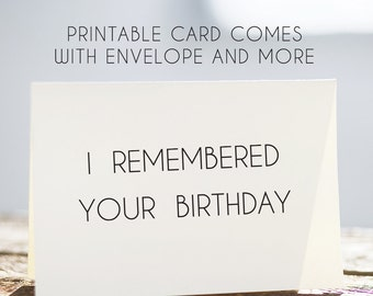 70% OFF SALE I remembered your birthday card, funny birthday card, printable birthday card, silly birthday card, hilarious birthday card