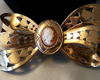 Perfect In Profile - Vintage Gold Tone Cameo Ribbon Bow Brooch