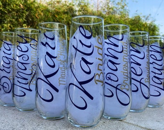 7 Stemless champagne glasses, Personalized bridesmaid glasses, wedding champagne glasses, champagne flutes, bridesmaid proposal