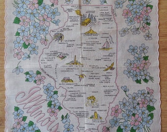ILLINOIS State Map Souvenir Handkerchief Hankie UN-USED