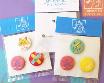 Crayonblood Button Pins | rad badges pin lapel street urban style accessories buttons