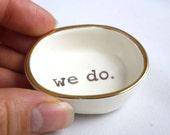 handmade WEDDING GIFT IDEA for couple custom couple gift  winter wedding gift | bridal shower gift | white ceramic ring holder with gold rim