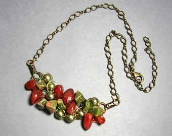 Adjustable Wire Crochet Necklace of Unakite, Red Agate and Swarovski Pearls