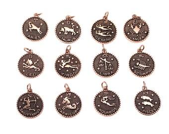 12pcs. Antique Copper LARGE Zodiac Constellation Charm Pendants- 27mm x 20mm - Wax Design