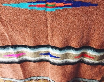 Vintage, Artisan, Woven, Mexican Blanket, Ortega, Chimayo, Serape, Boho, Home Decor, Bedding, Throw Blanket, Yoga Mat