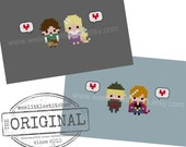 Storybook Romance Collection 5 - Rapunzel & Frozen - The *Original* Pixel People Minis - 2 PDF Cross-stitch Patterns