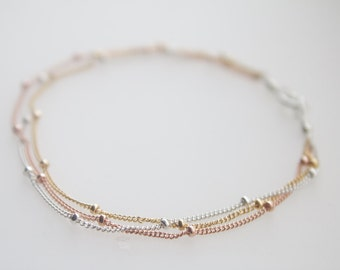 Satellite bracelet, trio, rose gold, silver bracelet, yellow gold beaded bracelet, friendship, wedding gift, bridesmaid, dainty, pink gold