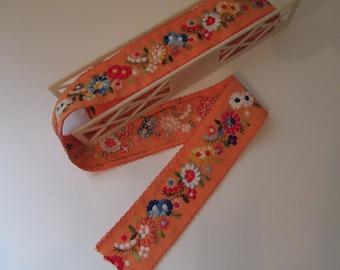Orange Floral Embroidered Wide cotton Trim
