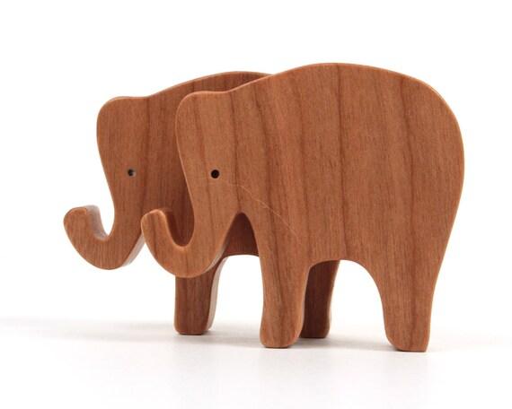 Toy Elephants Wooden Waldorf Animal Toys Miniature Noah's Ark Animals Zoo Animal Play Set Wood Animal Figurine