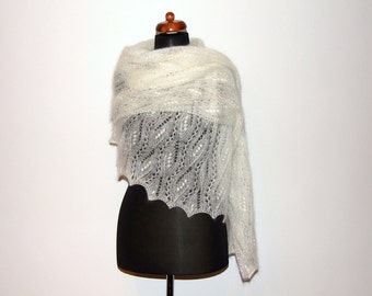bridal cover up, knitted lace shawl, silk mohair wrap, luxury wedding stole, custom colors, made to order