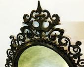Burwood Mirror Gothic Ornate Regency Black Faux Iron Vintage