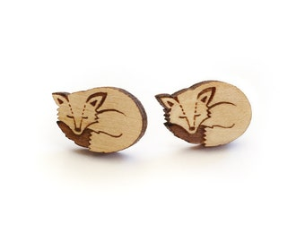 Sleeping fox earrings ~ woodland laser cut stud earrings