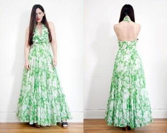 Vintage Floral Hippie Frill Halter Dress Backless Open Back Boho Maxi Dress 70's