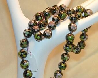 Vintage Cloisonne Necklace Floral Design