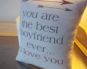 Boyfriend pillow gift for boyfriend cotton throw pillow boyfriend pillow love quote cushion man gift long distance pillows home decor gifts