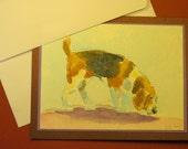 "BEAGLE DOG CARD, Original Handmade Watercolor (""Blank Inside"")"